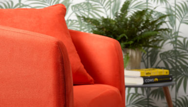 Faux Suede Chair Spicy Orange