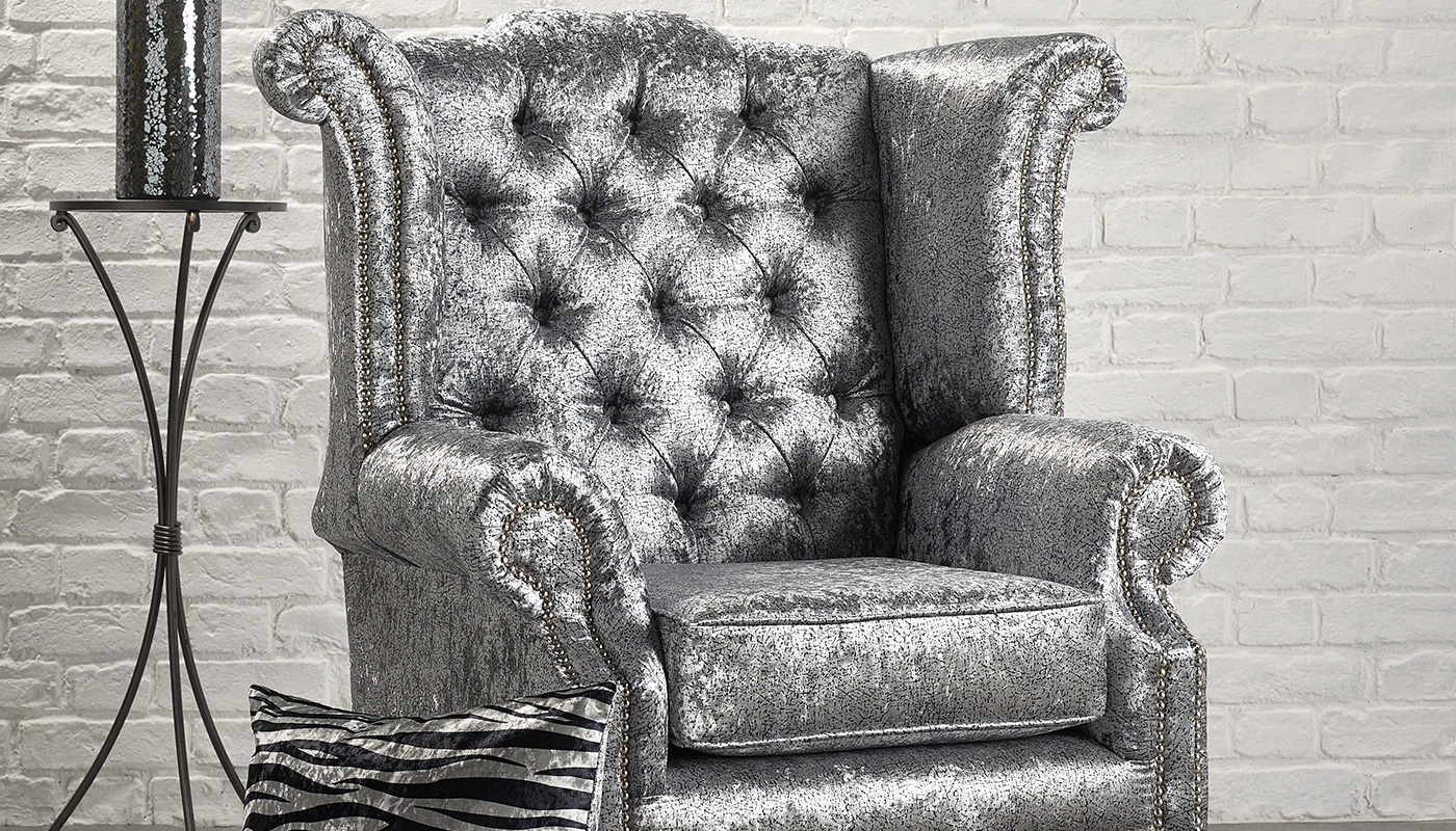 Upholstered Armchair Featuring Alchemy Crushed Velvet Silver 2