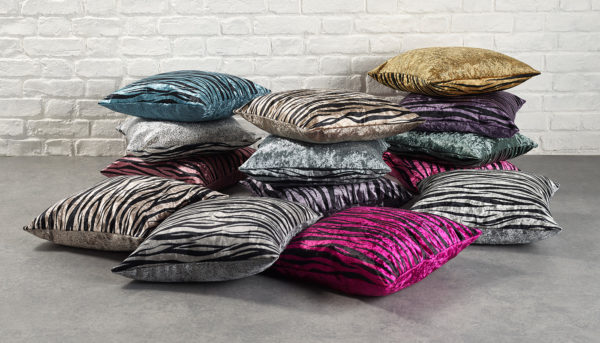 Cushions Featuring Alchemy Crushed Velvet in Several Colourways