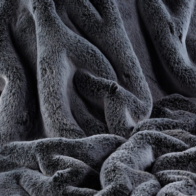 Faux Fur Fabric, Frosted Gunmetal